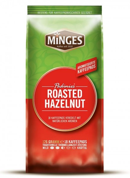 Minges Padinies Roasted Hazelnut 18 Kaffeepads Haselnuss