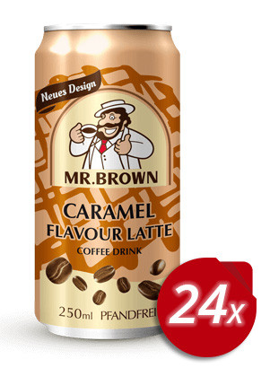 Mr. Brown Caramel Flavour Latte Coffee-Drink 24 Dosen