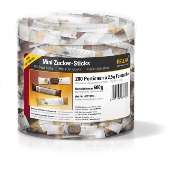Hellma Mini Zucker Sticks Espresso 200 x 2,5 g