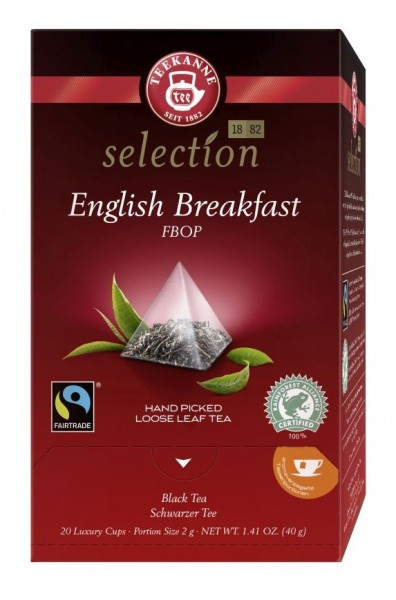 Teekanne Luxury Cup Fairtrade English Breakfast 20 Pyramidenbeutel