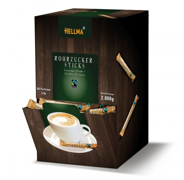 Hellma Fairtrade Rohrzuckersticks 500 x 4 g